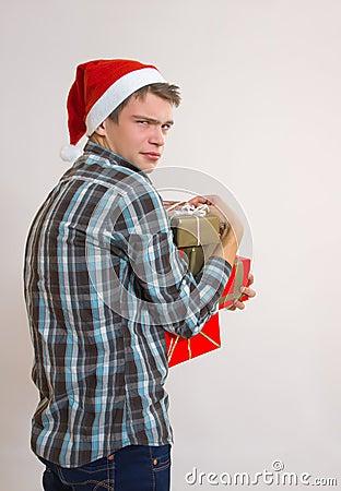Greedy young man -  Santa Claus