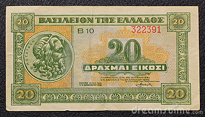 Greek 20 drachmas banknote from 1940