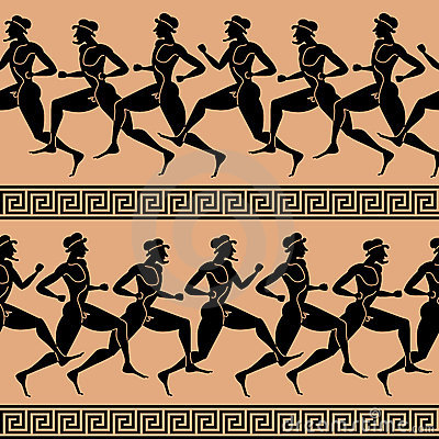 Greek athletes (seamless vector wallpaper)