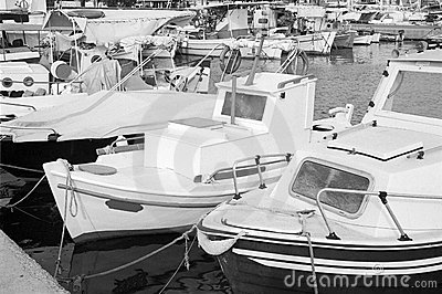 Greek boats in Aegina island