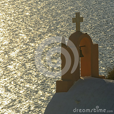 Greek church bell tower and sea
