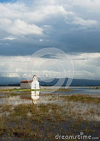 Greek church on a lake