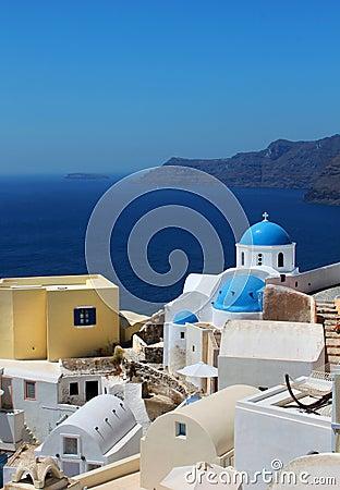 Greek church Oia Santorini caldera