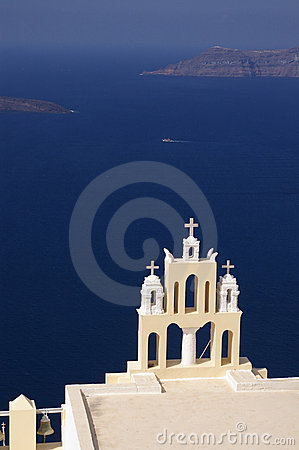 Free Greek Church Overlooking The Bay Of Santorini, Stock Photos - 12234403