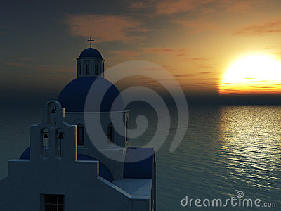 Greek church at sunset.