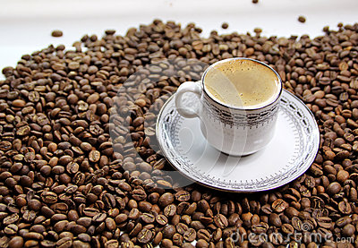 Greek coffee with coffee beans