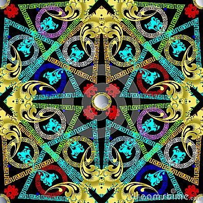 Free Greek Colorful Geometric Vector Seamless Pattern. Royalty Free Stock Image - 122641546