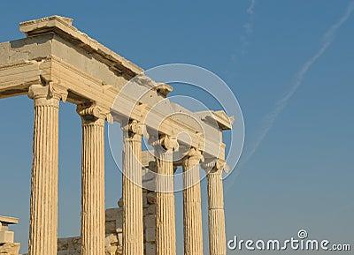 Greek columns, acropolis, athens