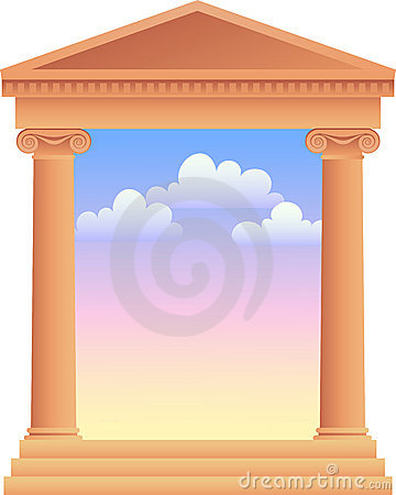 Greek Columns with Sky Background/ai
