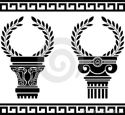 Greek columns with wreaths