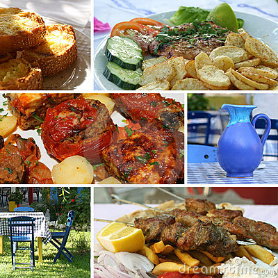 Greek cuisine collage