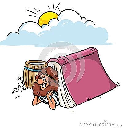 Free Greek Diogenes Book Philosophy Cartoon Royalty Free Stock Photography - 70005357