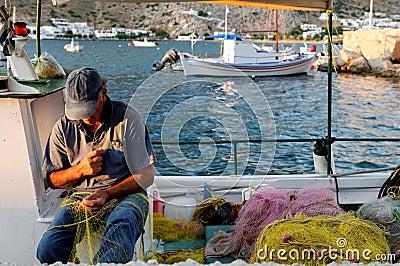 Greek fisherman Editorial Stock Photo