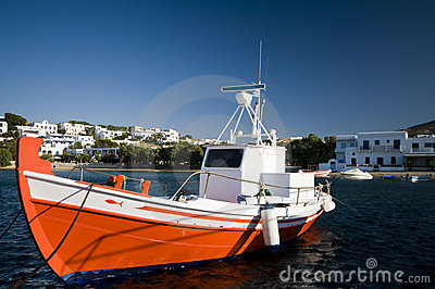 Greek fishing boat in harbor greek islands