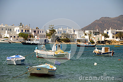 Greek fishing boat sandy beach Pollonia Milos