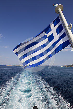 A Greek flag in the Aegean