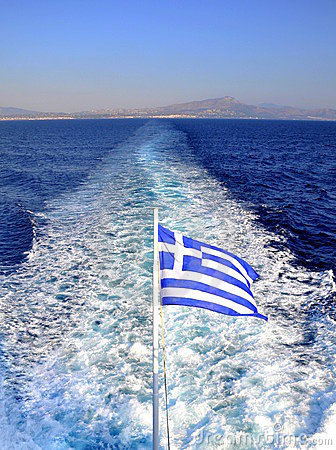 Greek flag at the back of a ferry