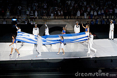 Greek flag entering stadium Editorial Image
