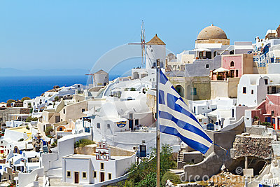 Greek flag on Santorini island