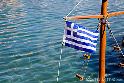 Greek Flag On A Ship