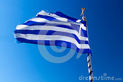 Greek flag on the wind
