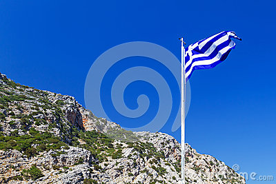Greek flag on the wind