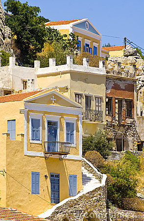 Greek houses Stock Photo