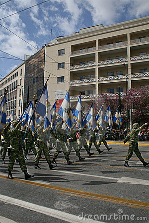 Greek Independence Day Parade - Army Flags Editorial Stock Image