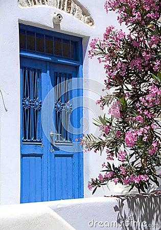Free Greek Island Ancient Building Door With Flowers Stock Photos - 5596923
