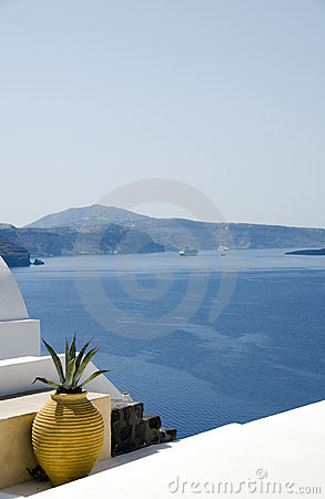 Greek island architecture over mediterranean sea