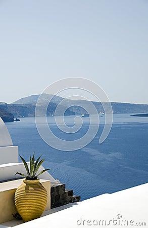Greek island architecture over mediterranean sea