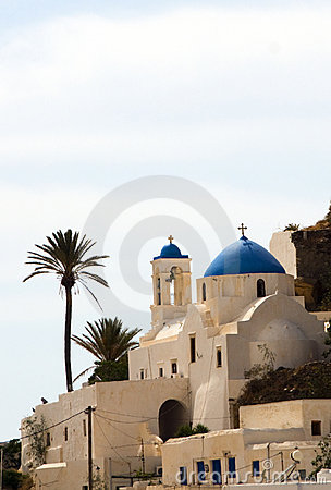 Greek Island church blue dome Ios Cyclades Islands