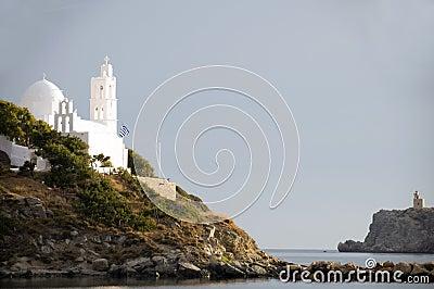 Greek island  church Ios Cyclades island