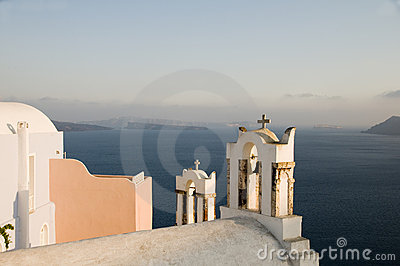 Greek island church over caldera oia santori