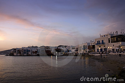 Greek island at dusk