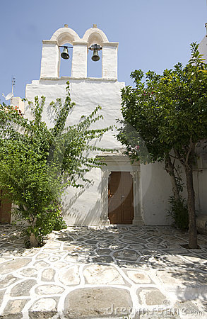 Greek island scene old church
