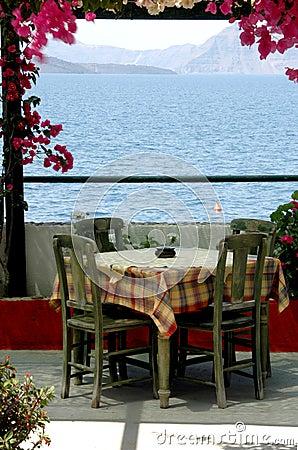Greek island taverna scene Santorini