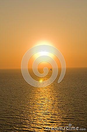 Greek island view at sunset