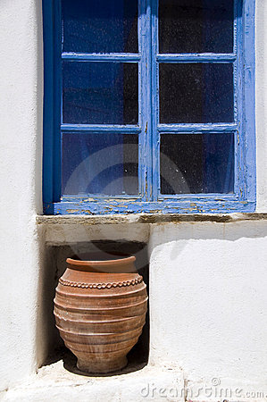 Greek island window scene