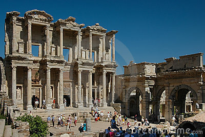 Greek Library ruins at Ephesus Editorial Image
