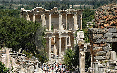 Greek Library ruins at Ephesus Editorial Stock Photo