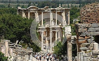 Greek Library ruins at Ephesus Editorial Stock Photo