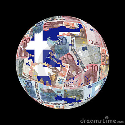 Greek map flag on euros