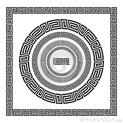 Free Greek Ornament. Circle Ornament Meander. Round Frame, Rosette Of Ancient Elements. Greek National Antique Round Pattern, Vector. R Stock Images - 76994684
