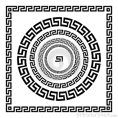 Free Greek Ornament. Circle Ornament Meander. Round Frame, Rosette Of Ancient Elements. Greek National Antique Round Pattern, Vector. R Stock Photography - 76994702