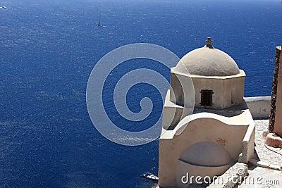 Greek orthodox church on edge of sea