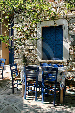 Greek outdoor tavern table