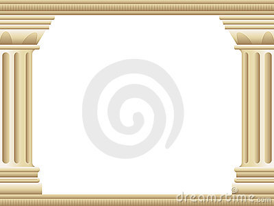 background border illustration of two ancient Greek style pillars ...