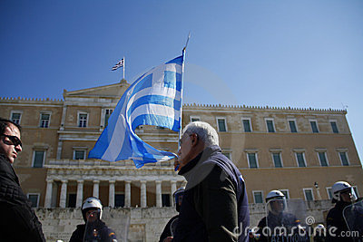 Greek public and private sector demonostration Editorial Image
