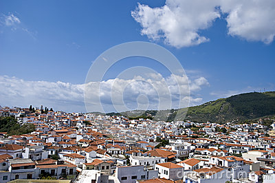 Streets of Skiathos island in Greece, houses roofs